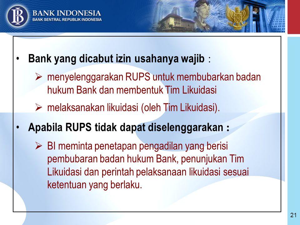 21 Bank yang dicabut izin usahanya wajib :  menyelenggarakan RUPS untuk membubarkan badan hukum Bank dan membentuk Tim Likuidasi  melaksanakan likuidasi (oleh Tim Likuidasi).