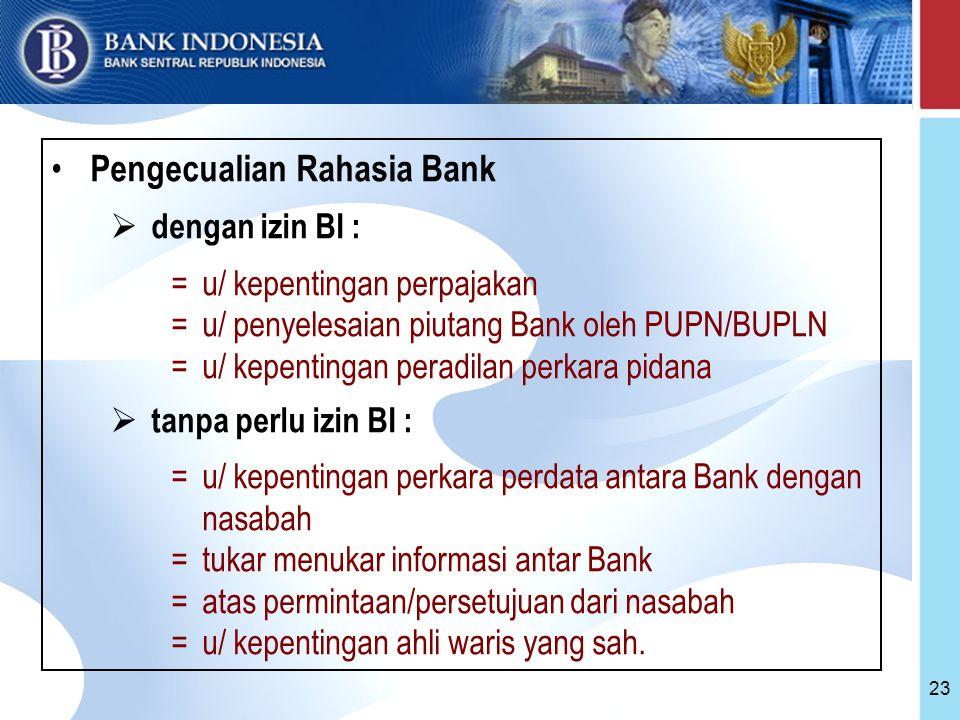 23 Pengecualian Rahasia Bank  dengan izin BI : =u/ kepentingan perpajakan =u/ penyelesaian piutang Bank oleh PUPN/BUPLN =u/ kepentingan peradilan perkara pidana  tanpa perlu izin BI : =u/ kepentingan perkara perdata antara Bank dengan nasabah =tukar menukar informasi antar Bank =atas permintaan/persetujuan dari nasabah =u/ kepentingan ahli waris yang sah.