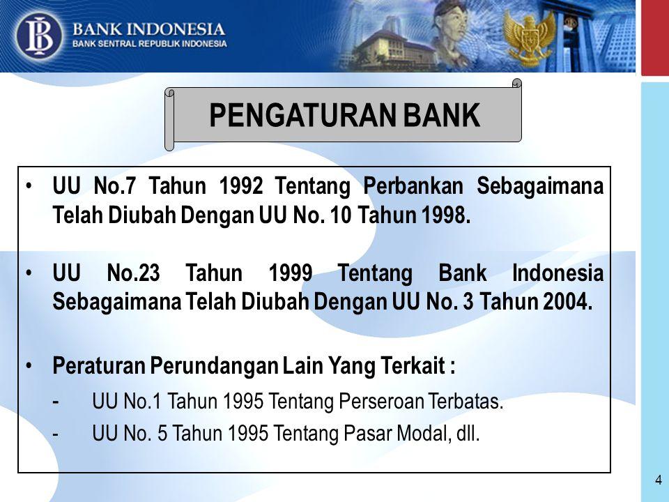 15 Pembinaan dan pengawasan Bank dilakukan oleh BI Cakupan kewenangan BI di bidang pembinaan dan pengawasan Bank : – right to license – right to regulate – right to supervise – right to impose sanction.