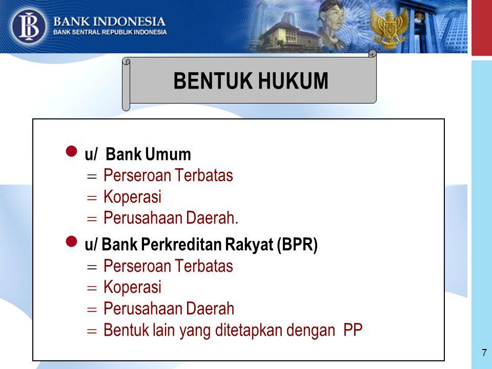 18 Pemeriksaan Bank oleh BI : =rutin (pemeriksaan umum) =sewaktu-waktu apabila diperlukan =BI dapat menugaskan akuntan publik untuk melaksanakan pemeriksaan Bank Aspek kerahasiaan data Bank : =keterangan tentang Bank yang diperoleh BI dari laporan, penjelasan, pemeriksaan tidak diumumkan dan bersifat rahasia =laporan pemeriksaan bank bersifat rahasia.