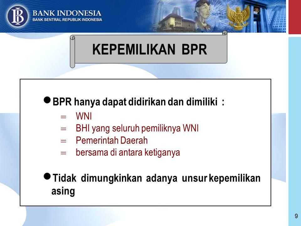 9 BPR hanya dapat didirikan dan dimiliki :  WNI  BHI yang seluruh pemiliknya WNI  Pemerintah Daerah  bersama di antara ketiganya Tidak dimungkinkan adanya unsur kepemilikan asing KEPEMILIKAN BPR