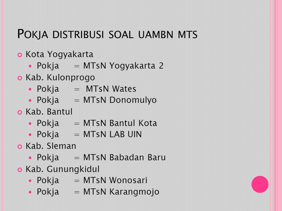 P OKJA DISTRIBUSI SOAL UAMBN MTS Kota Yogyakarta Pokja = MTsN Yogyakarta 2 Kab. Kulonprogo Pokja = MTsN Wates Pokja = MTsN Donomulyo Kab. Bantul Pokja