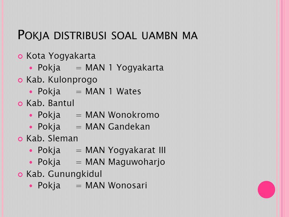 P OKJA DISTRIBUSI SOAL UAMBN MA Kota Yogyakarta Pokja = MAN 1 Yogyakarta Kab. Kulonprogo Pokja = MAN 1 Wates Kab. Bantul Pokja = MAN Wonokromo Pokja =