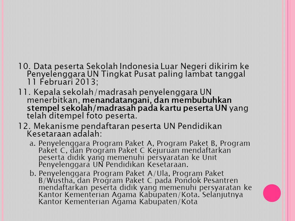10. Data peserta Sekolah Indonesia Luar Negeri dikirim ke Penyelenggara UN Tingkat Pusat paling lambat tanggal 11 Februari 2013; 11. Kepala sekolah/ma