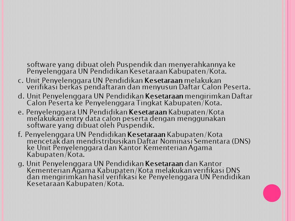 software yang dibuat oleh Puspendik dan menyerahkannya ke Penyelenggara UN Pendidikan Kesetaraan Kabupaten/Kota. c. Unit Penyelenggara UN Pendidikan K