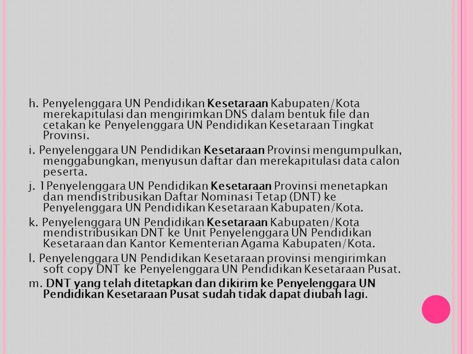 h. Penyelenggara UN Pendidikan Kesetaraan Kabupaten/Kota merekapitulasi dan mengirimkan DNS dalam bentuk file dan cetakan ke Penyelenggara UN Pendidik