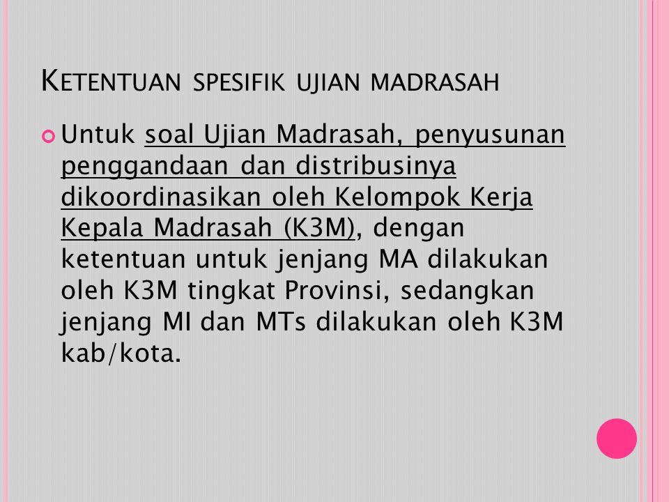 K ETENTUAN SPESIFIK UJIAN MADRASAH Untuk soal Ujian Madrasah, penyusunan penggandaan dan distribusinya dikoordinasikan oleh Kelompok Kerja Kepala Madrasah (K3M), dengan ketentuan untuk jenjang MA dilakukan oleh K3M tingkat Provinsi, sedangkan jenjang MI dan MTs dilakukan oleh K3M kab/kota.