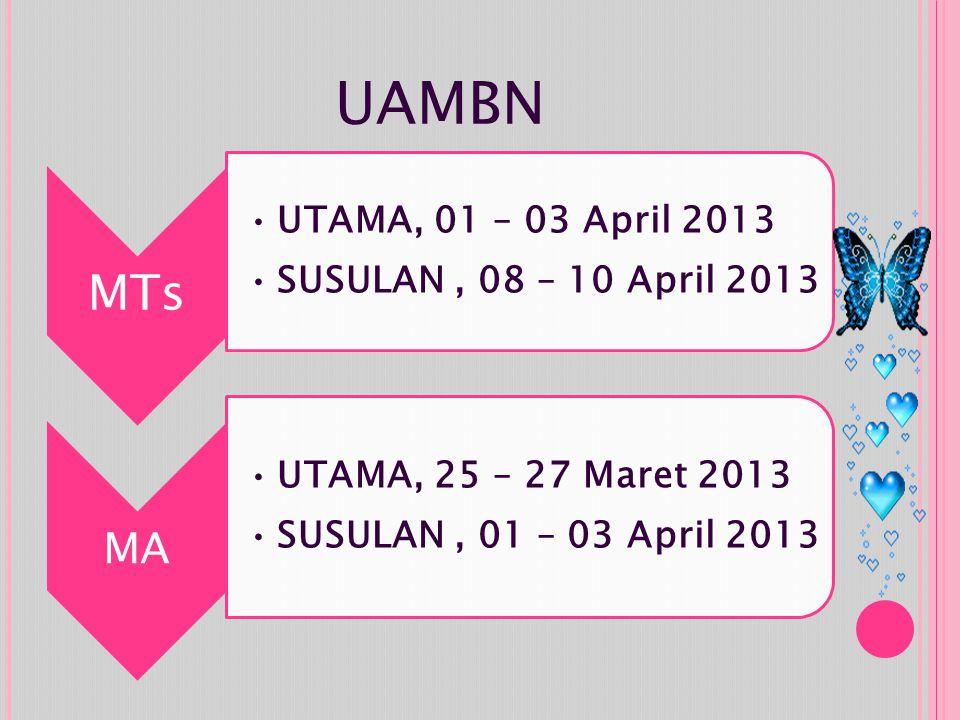 UAMBN MTs UTAMA, 01 – 03 April 2013 SUSULAN, 08 – 10 April 2013 MA UTAMA, 25 – 27 Maret 2013 SUSULAN, 01 – 03 April 2013