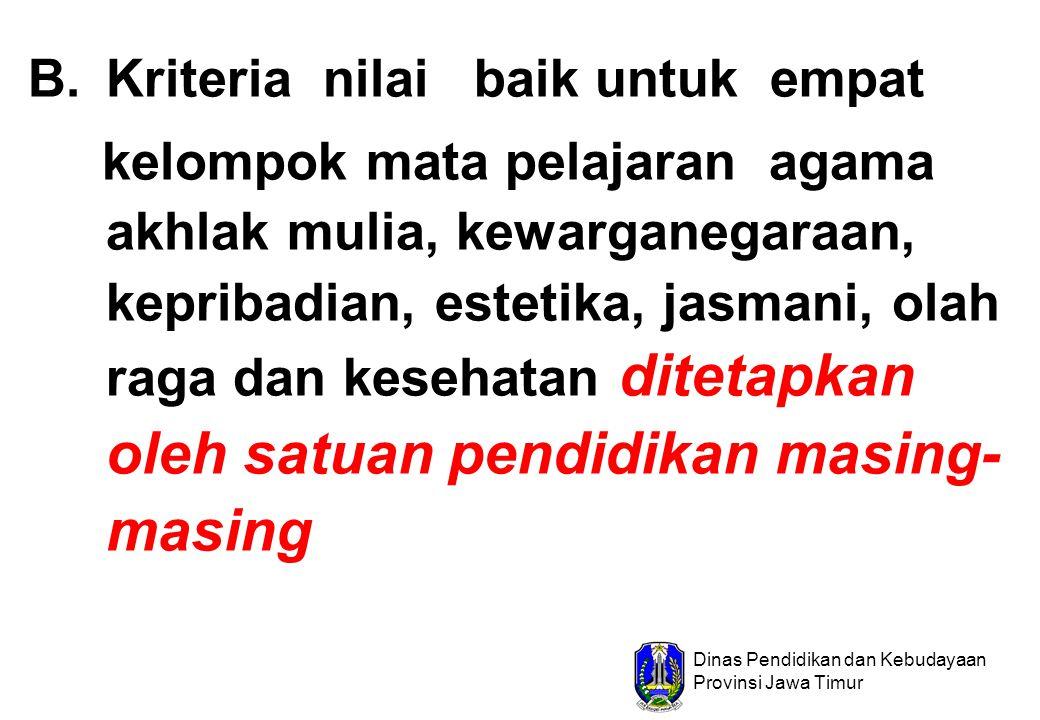 Dinas Pendidikan dan Kebudayaan Provinsi Jawa Timur B.Kriteria nilai baik untuk empat kelompok mata pelajaran agama akhlak mulia, kewarganegaraan, kep