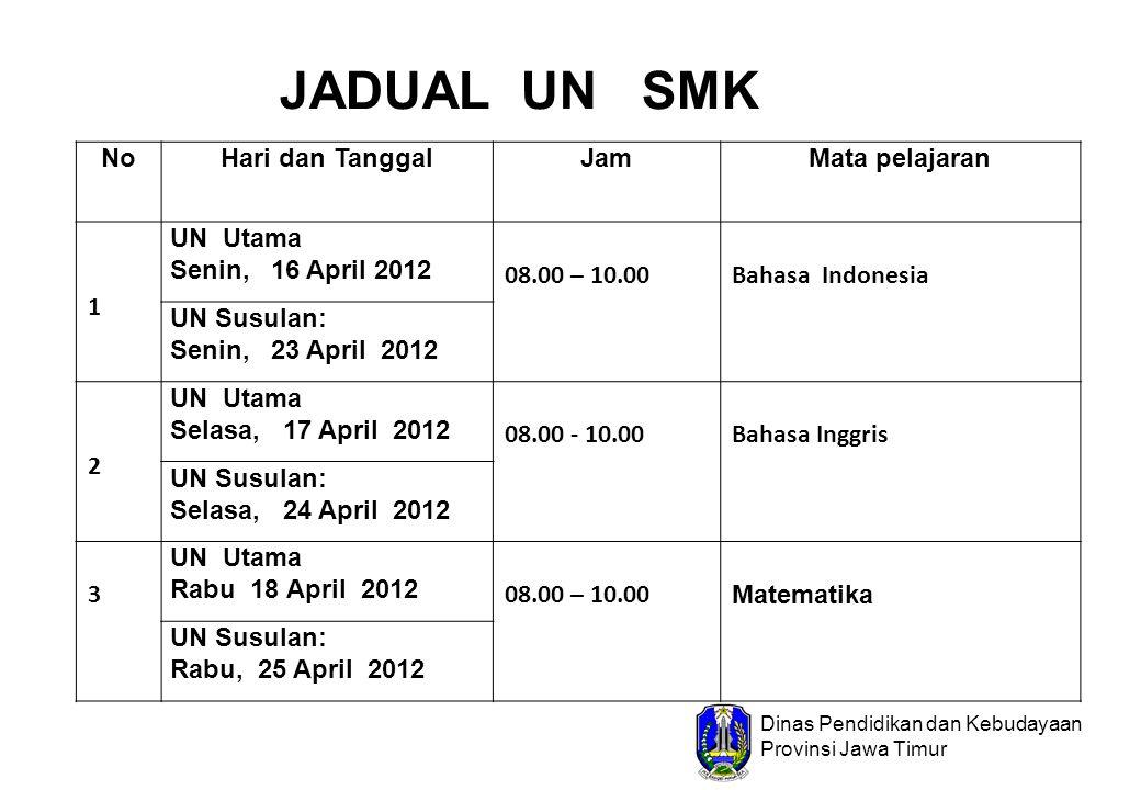 Dinas Pendidikan dan Kebudayaan Provinsi Jawa Timur NoHari dan TanggalJamMata pelajaran 1 UN Utama Senin, 16 April 2012 08.00 – 10.00Bahasa Indonesia