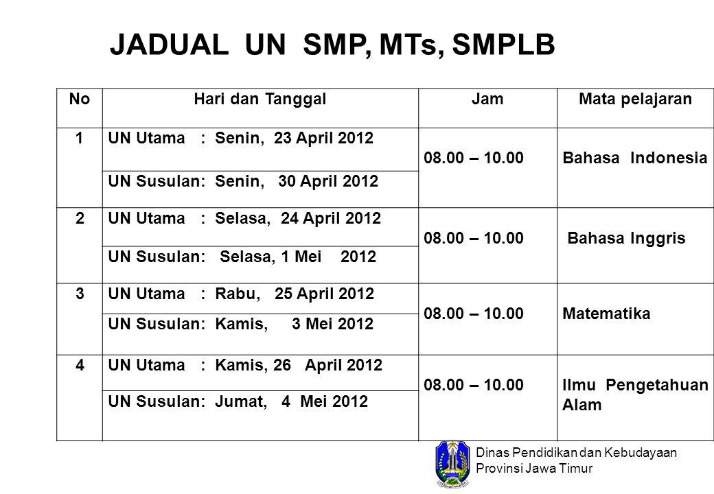 Dinas Pendidikan dan Kebudayaan Provinsi Jawa Timur JADUAL UN SMP, MTs, SMPLB NoHari dan TanggalJamMata pelajaran 1UN Utama : Senin, 23 April 2012 08.