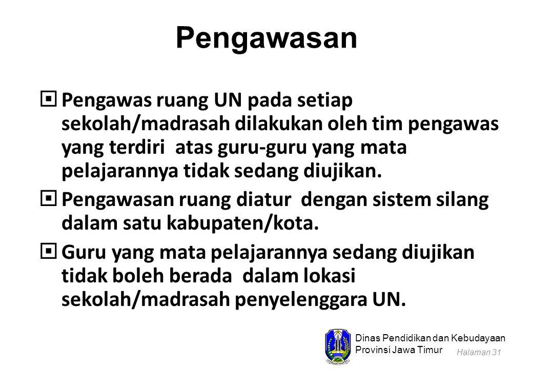 Dinas Pendidikan dan Kebudayaan Provinsi Jawa Timur Pengawasan  Pengawas ruang UN pada setiap sekolah/madrasah dilakukan oleh tim pengawas yang terdi