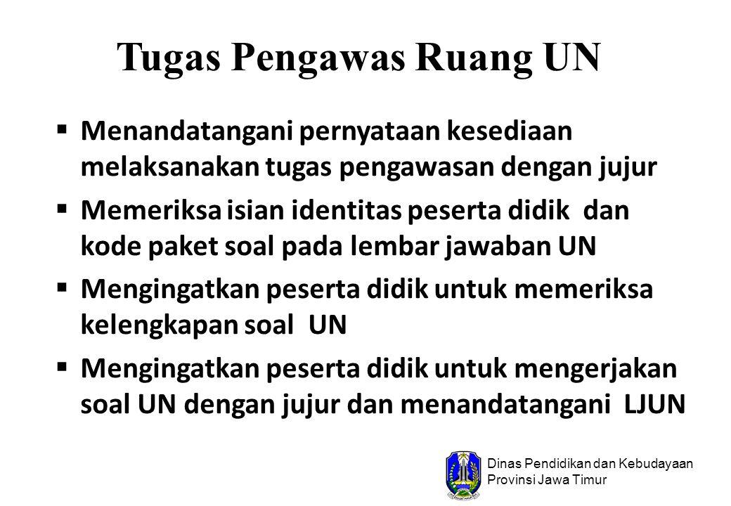 Dinas Pendidikan dan Kebudayaan Provinsi Jawa Timur Tugas Pengawas Ruang UN  Menandatangani pernyataan kesediaan melaksanakan tugas pengawasan dengan