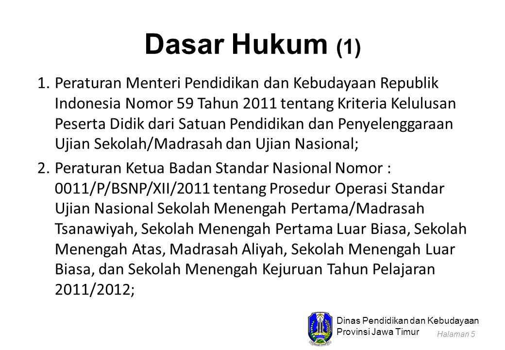 Dinas Pendidikan dan Kebudayaan Provinsi Jawa Timur Dasar Hukum (1) 1.Peraturan Menteri Pendidikan dan Kebudayaan Republik Indonesia Nomor 59 Tahun 20