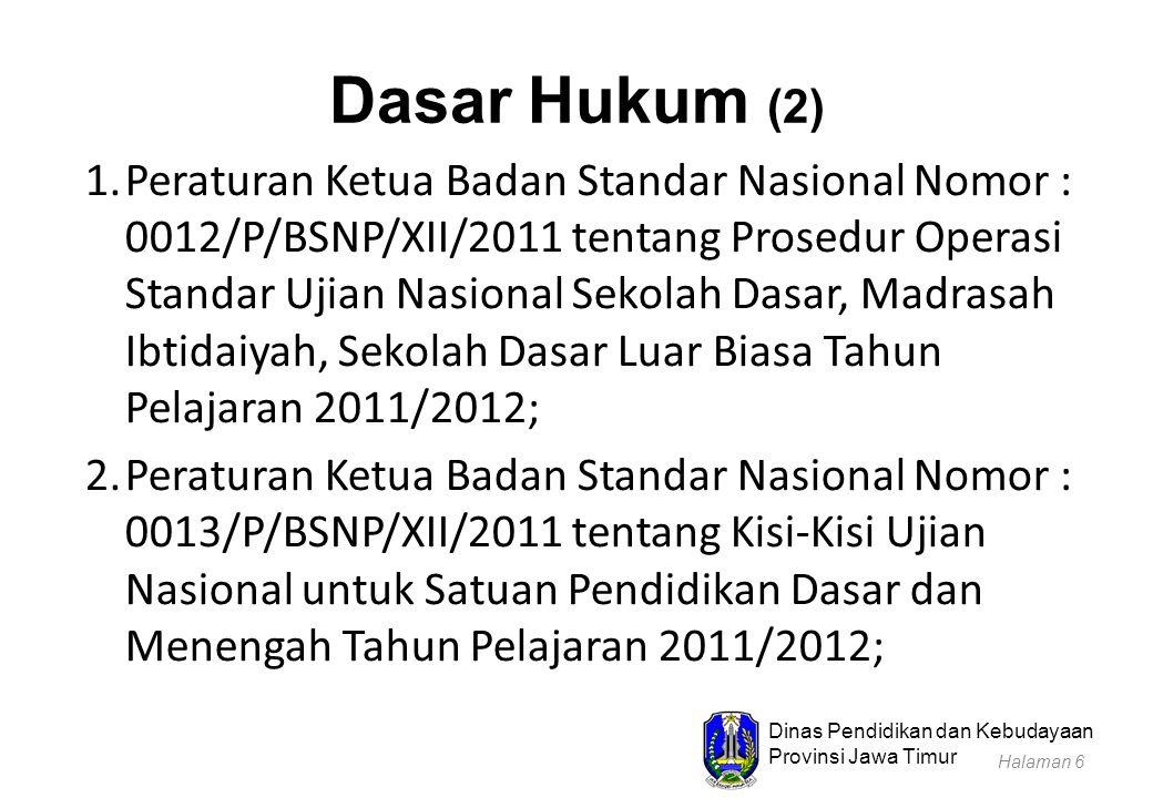 Dinas Pendidikan dan Kebudayaan Provinsi Jawa Timur Dasar Hukum (2) 1.Peraturan Ketua Badan Standar Nasional Nomor : 0012/P/BSNP/XII/2011 tentang Pros