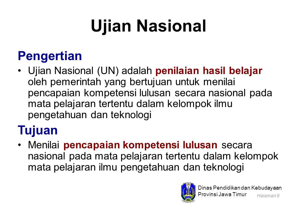 Dinas Pendidikan dan Kebudayaan Provinsi Jawa Timur Ujian Nasional Pengertian Ujian Nasional (UN) adalah penilaian hasil belajar oleh pemerintah yang