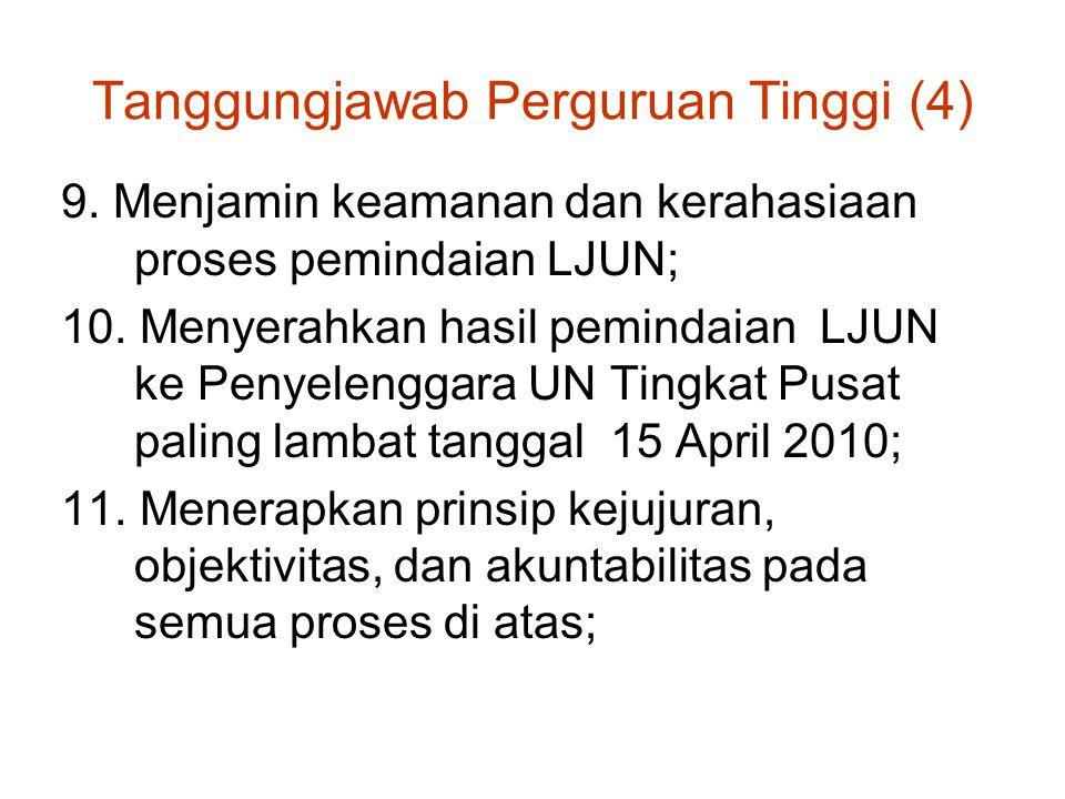 Tanggungjawab Perguruan Tinggi (4) 9. Menjamin keamanan dan kerahasiaan proses pemindaian LJUN; 10. Menyerahkan hasil pemindaian LJUN ke Penyelenggara