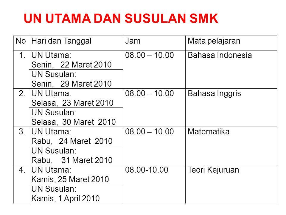 NoHari dan TanggalJamMata pelajaran 1.UN Utama: Senin, 22 Maret 2010 08.00 – 10.00Bahasa Indonesia UN Susulan: Senin, 29 Maret 2010 2.UN Utama: Selasa