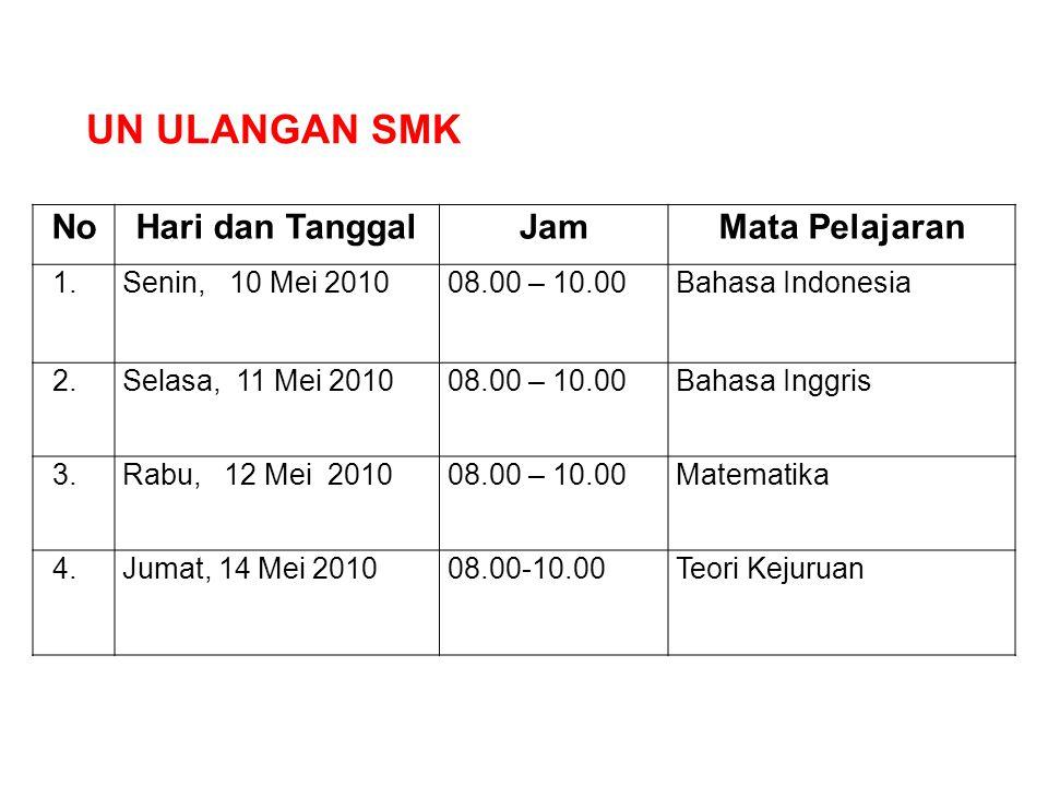 NoHari dan TanggalJamMata Pelajaran 1.Senin, 10 Mei 201008.00 – 10.00Bahasa Indonesia 2.Selasa, 11 Mei 201008.00 – 10.00Bahasa Inggris 3.Rabu, 12 Mei
