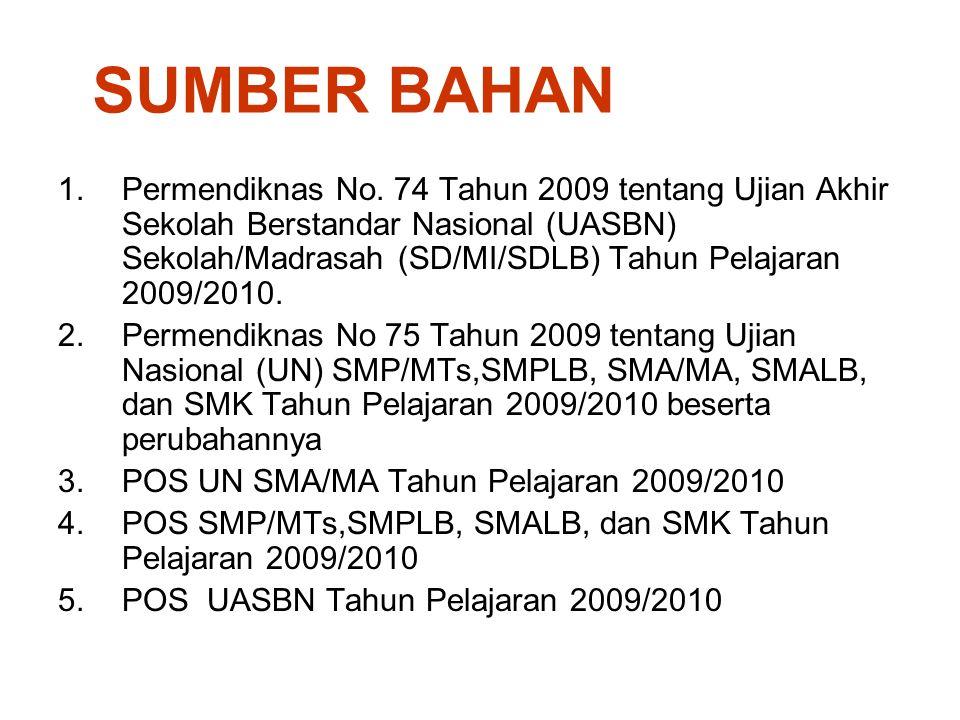 SUMBER BAHAN 1.Permendiknas No. 74 Tahun 2009 tentang Ujian Akhir Sekolah Berstandar Nasional (UASBN) Sekolah/Madrasah (SD/MI/SDLB) Tahun Pelajaran 20
