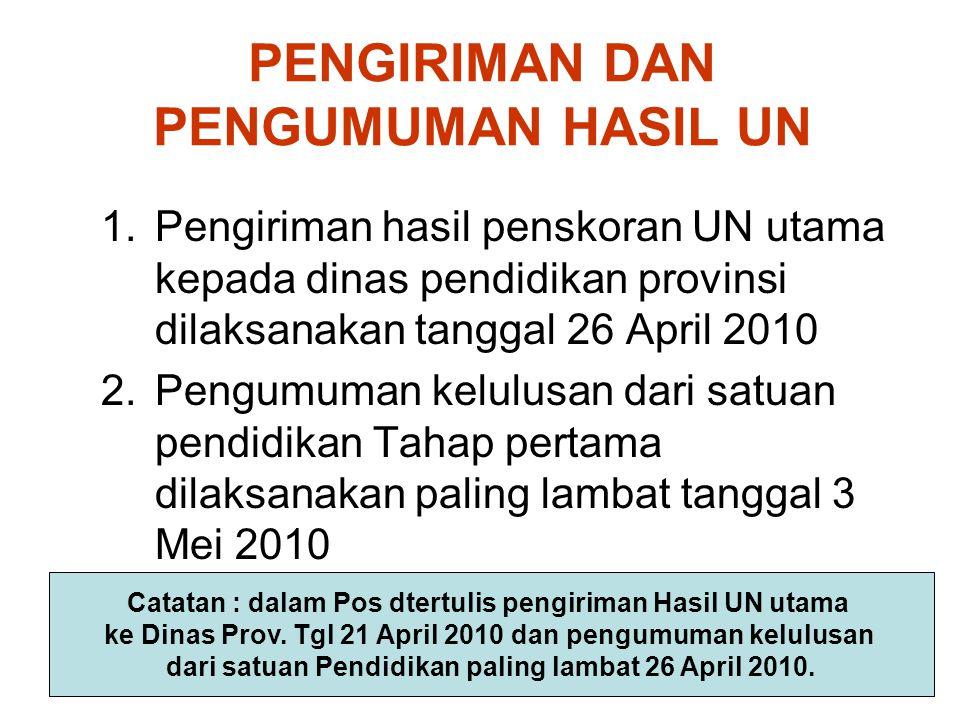 PENGIRIMAN DAN PENGUMUMAN HASIL UN 1.Pengiriman hasil penskoran UN utama kepada dinas pendidikan provinsi dilaksanakan tanggal 26 April 2010 2.Pengumu