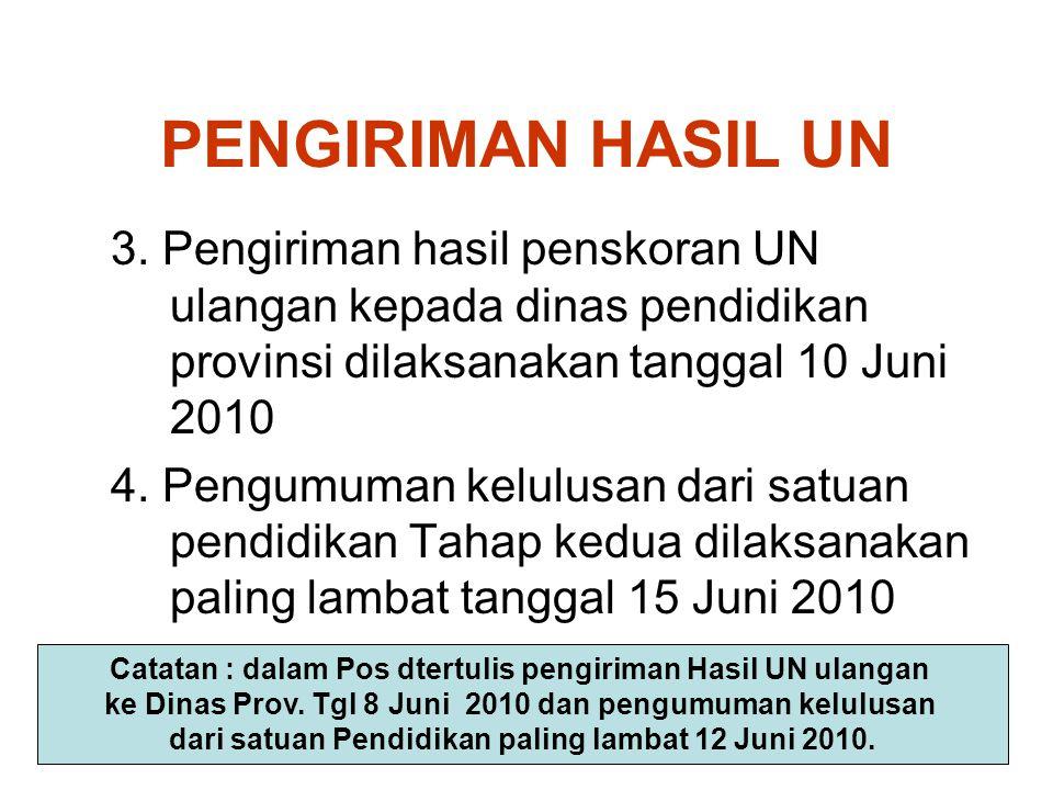 PENGIRIMAN HASIL UN 3. Pengiriman hasil penskoran UN ulangan kepada dinas pendidikan provinsi dilaksanakan tanggal 10 Juni 2010 4. Pengumuman kelulusa