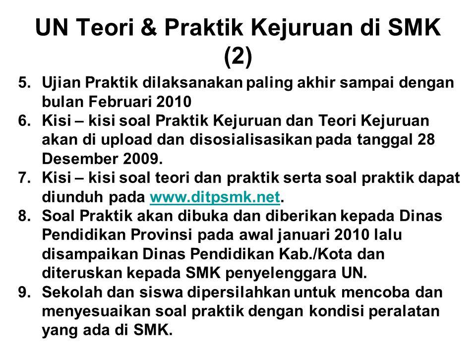 UN Teori & Praktik Kejuruan di SMK (2) 5.Ujian Praktik dilaksanakan paling akhir sampai dengan bulan Februari 2010 6.Kisi – kisi soal Praktik Kejuruan