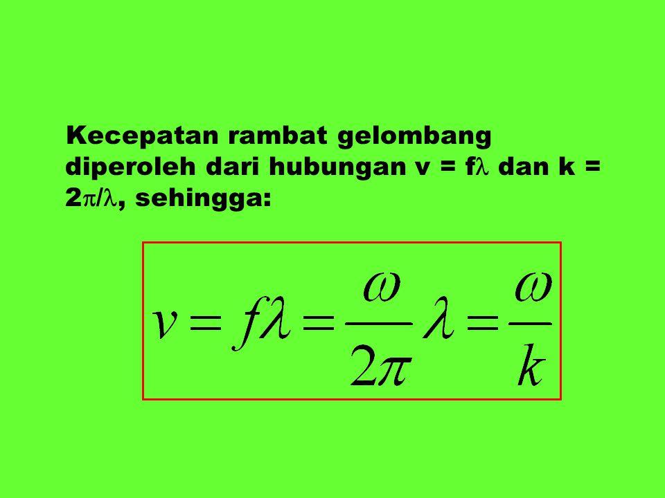 Kecepatan rambat gelombang diperoleh dari hubungan v = f dan k = 2  /, sehingga: