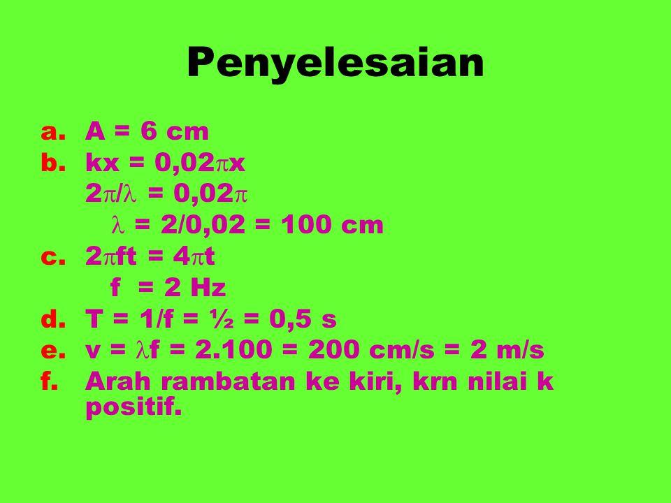 Penyelesaian a.A = 6 cm b.kx = 0,02  x 2  / = 0,02  = 2/0,02 = 100 cm c.2  ft = 4  t f = 2 Hz d.T = 1/f = ½ = 0,5 s e.v = f = 2.100 = 200 cm/s =