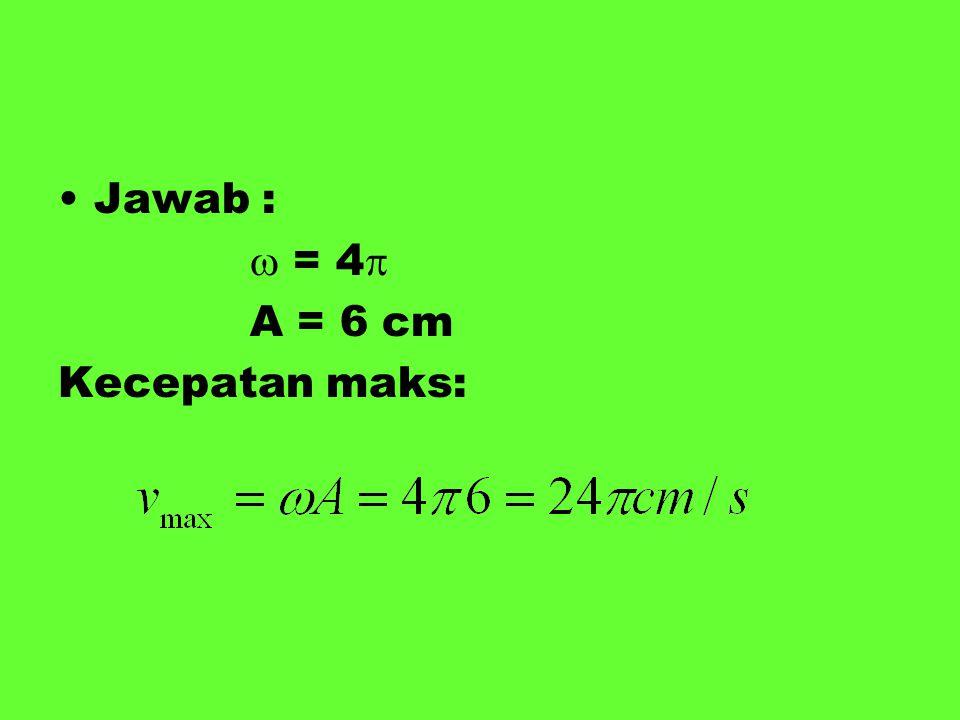 Jawab :  = 4  A = 6 cm Kecepatan maks: