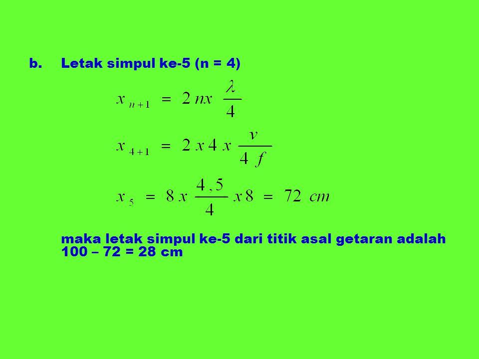 b.Letak simpul ke-5 (n = 4) maka letak simpul ke-5 dari titik asal getaran adalah 100 – 72 = 28 cm