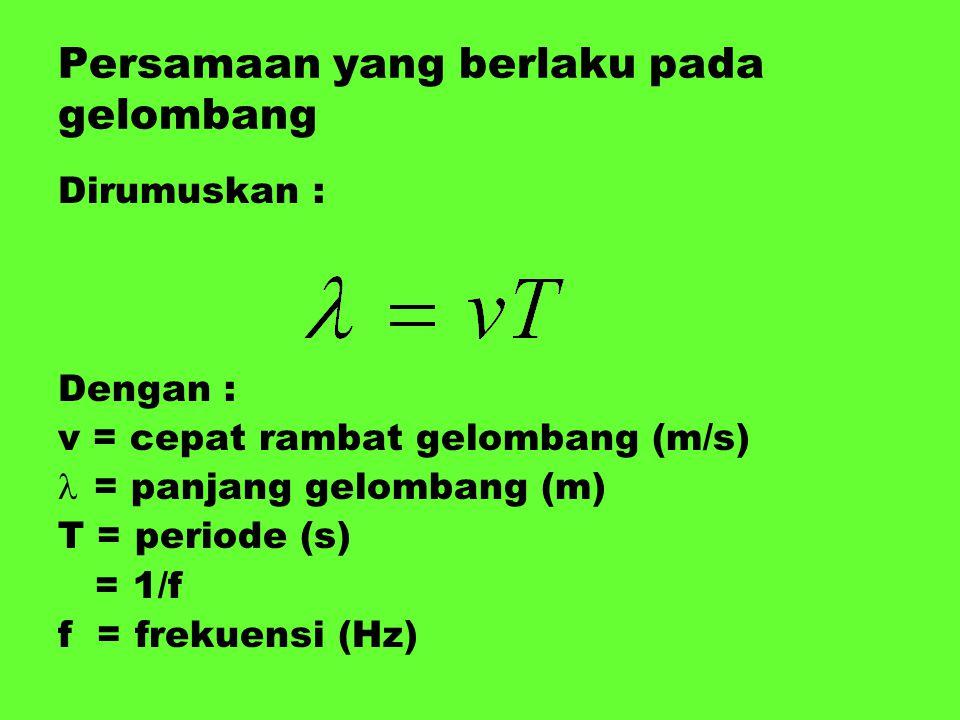 Persamaan yang berlaku pada gelombang Dirumuskan : Dengan : v = cepat rambat gelombang (m/s) = panjang gelombang (m) T = periode (s) = 1/f f = frekuen