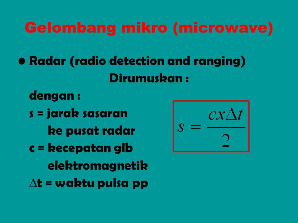 Gelombang mikro (microwave) Radar (radio detection and ranging) Dirumuskan : dengan : s = jarak sasaran ke pusat radar c = kecepatan glb elektromagnet