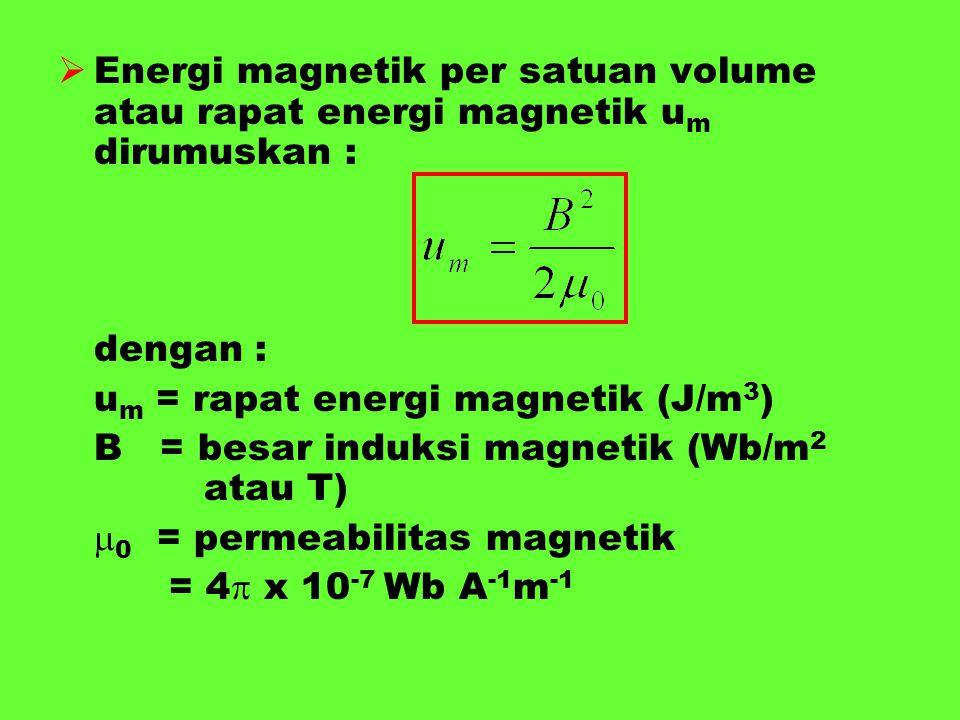  Energi magnetik per satuan volume atau rapat energi magnetik u m dirumuskan : dengan : u m = rapat energi magnetik (J/m 3 ) B = besar induksi magnet