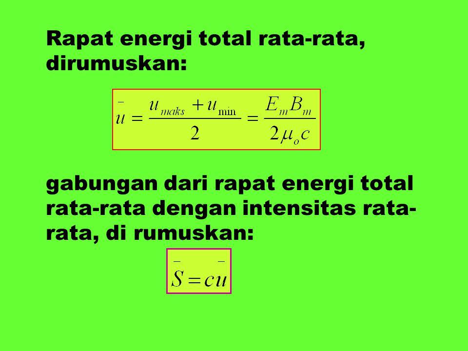 Rapat energi total rata-rata, dirumuskan: gabungan dari rapat energi total rata-rata dengan intensitas rata- rata, di rumuskan: