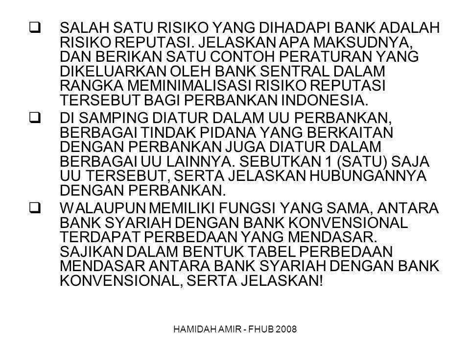HAMIDAH AMIR - FHUB 2008  SALAH SATU RISIKO YANG DIHADAPI BANK ADALAH RISIKO REPUTASI.