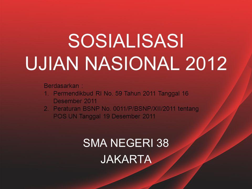 SOSIALISASI UJIAN NASIONAL 2012 SMA NEGERI 38 JAKARTA Berdasarkan : 1.Permendikbud RI No. 59 Tahun 2011 Tanggal 16 Desember 2011 2.Peraturan BSNP No.
