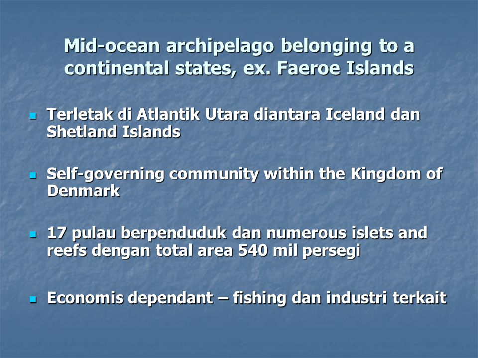 Faeroe Islands continued Order 27 February 1903 Pemerintah Denmark meletakkan fishing rights bagi warga negaranya 'in the waters adjacent to' the Faeroe Islands dalam batas 3 mil yang diukur dari garis terluar pada waktu air laut surut, mengikuti garis pantai.