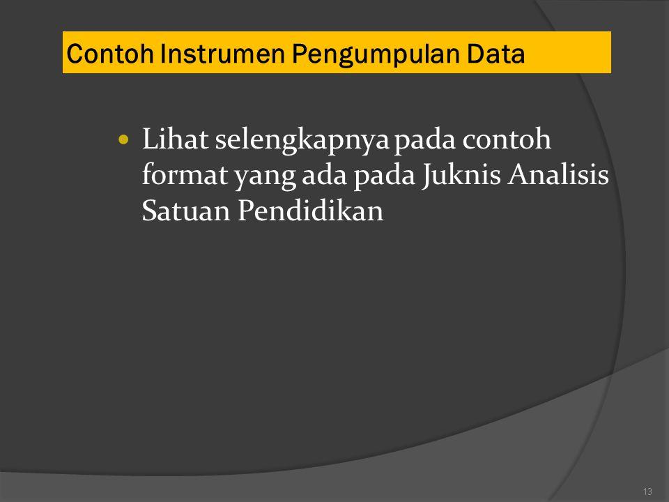Contoh Instrumen Pengumpulan Data 13 Lihat selengkapnya pada contoh format yang ada pada Juknis Analisis Satuan Pendidikan