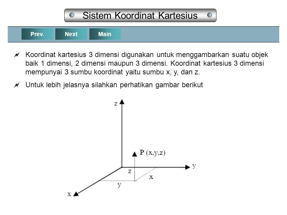 NextPrev.Main Sistem Koordinat Kartesius  Koordinat kartesius 3 dimensi digunakan untuk menggambarkan suatu objek baik 1 dimensi, 2 dimensi maupun 3 dimensi.