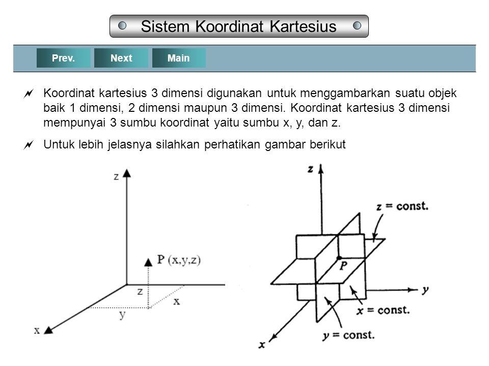 NextPrev.Main Sistem Koordinat Kartesius  Koordinat kartesius 3 dimensi digunakan untuk menggambarkan suatu objek baik 1 dimensi, 2 dimensi maupun 3