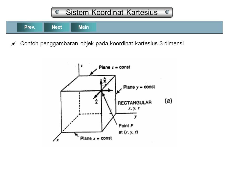 NextPrev.Main Sistem Koordinat Kartesius  Contoh penggambaran objek pada koordinat kartesius 3 dimensi