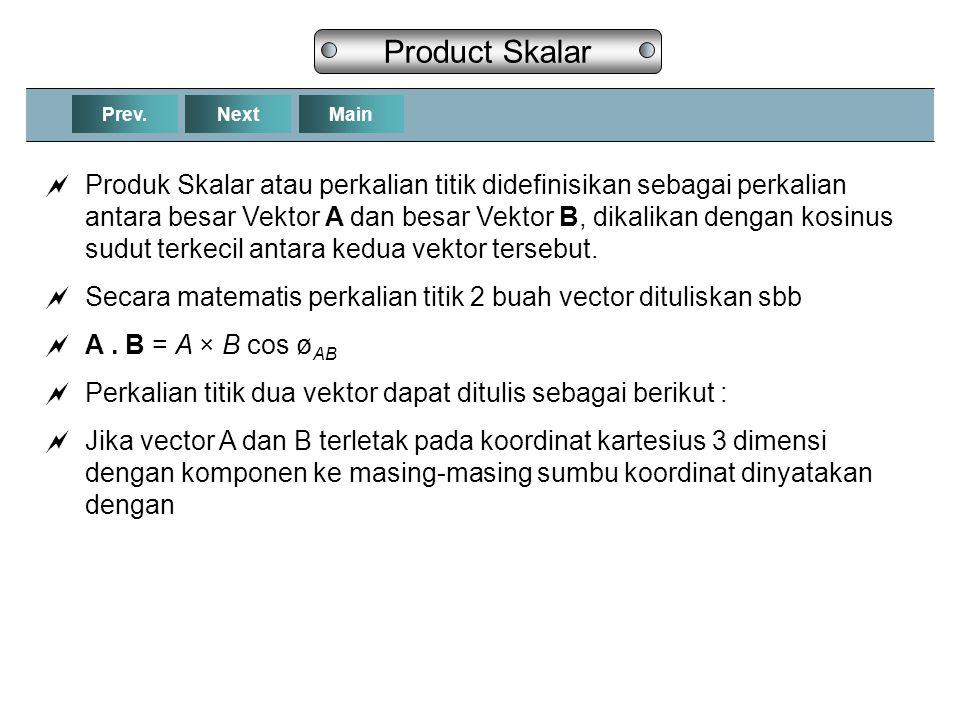 NextPrev.Main Product Skalar  Produk Skalar atau perkalian titik didefinisikan sebagai perkalian antara besar Vektor A dan besar Vektor B, dikalikan dengan kosinus sudut terkecil antara kedua vektor tersebut.