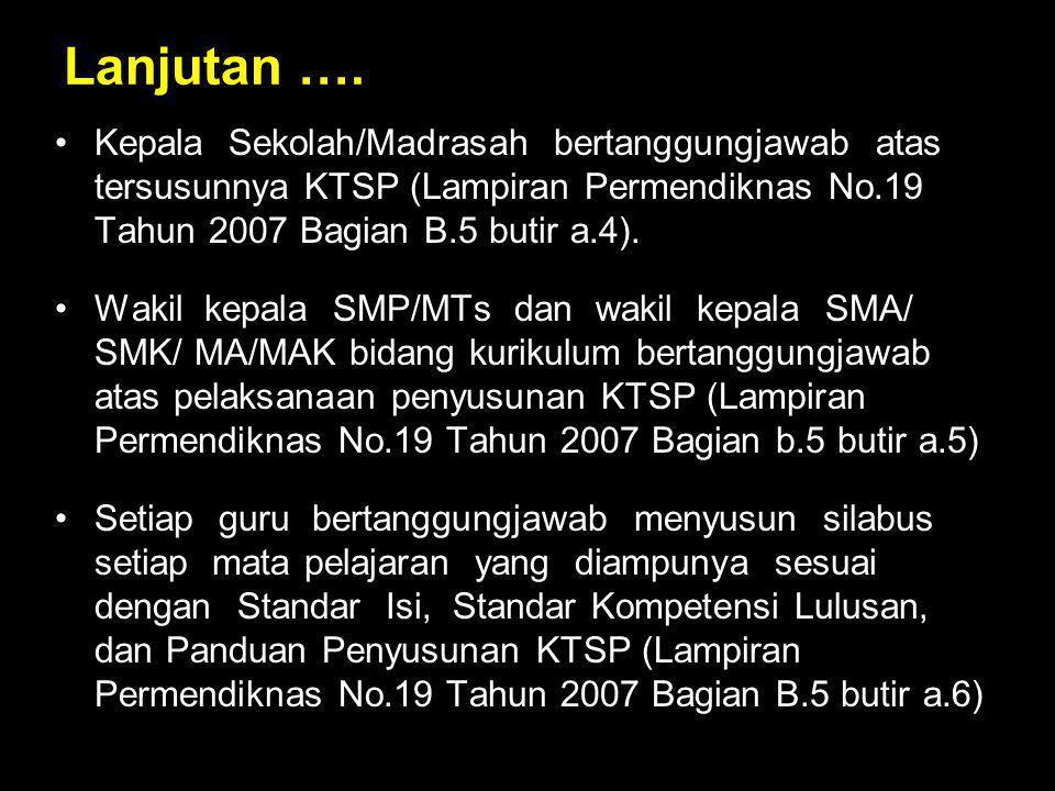 Lanjutan …. Kepala Sekolah/Madrasah bertanggungjawab atas tersusunnya KTSP (Lampiran Permendiknas No.19 Tahun 2007 Bagian B.5 butir a.4). Wakil kepala