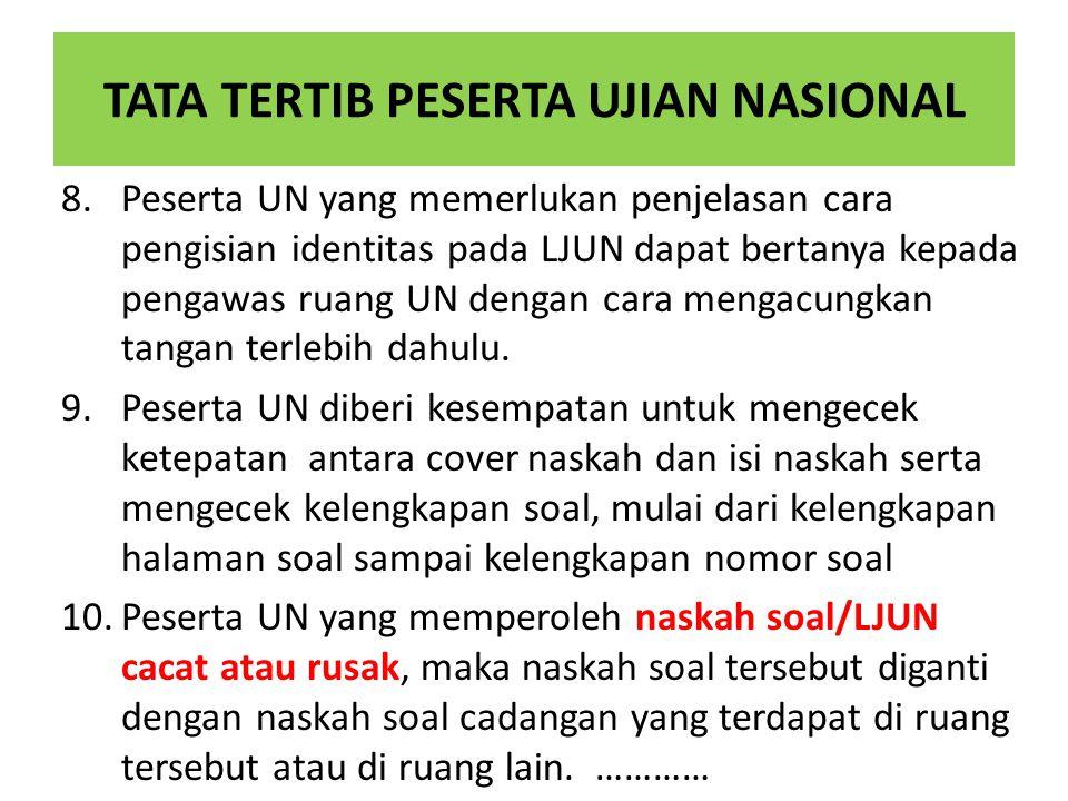 TATA TERTIB PESERTA UJIAN NASIONAL 8.Peserta UN yang memerlukan penjelasan cara pengisian identitas pada LJUN dapat bertanya kepada pengawas ruang UN