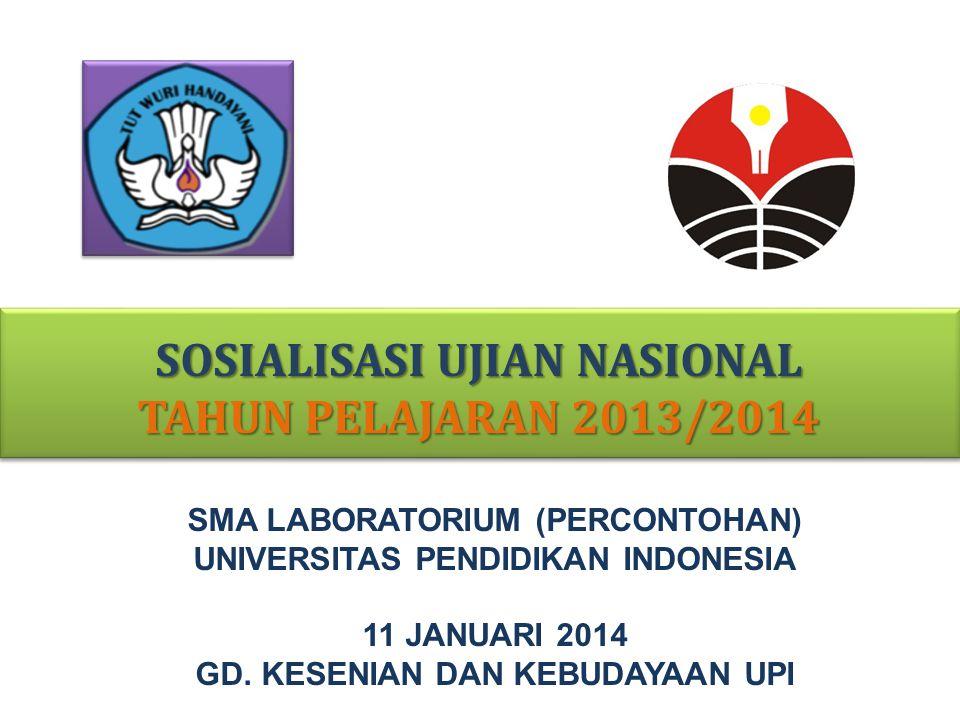 SOSIALISASI UJIAN NASIONAL TAHUN PELAJARAN 2013/2014 SMA LABORATORIUM (PERCONTOHAN) UNIVERSITAS PENDIDIKAN INDONESIA 11 JANUARI 2014 GD. KESENIAN DAN
