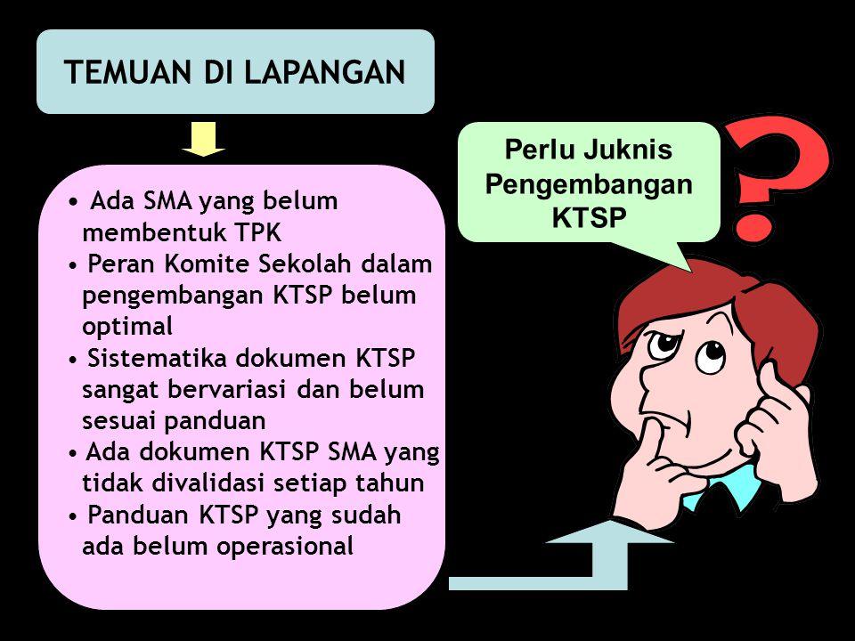 TEMUAN DI LAPANGAN Ada SMA yang belum membentuk TPK Peran Komite Sekolah dalam pengembangan KTSP belum optimal Sistematika dokumen KTSP sangat bervari