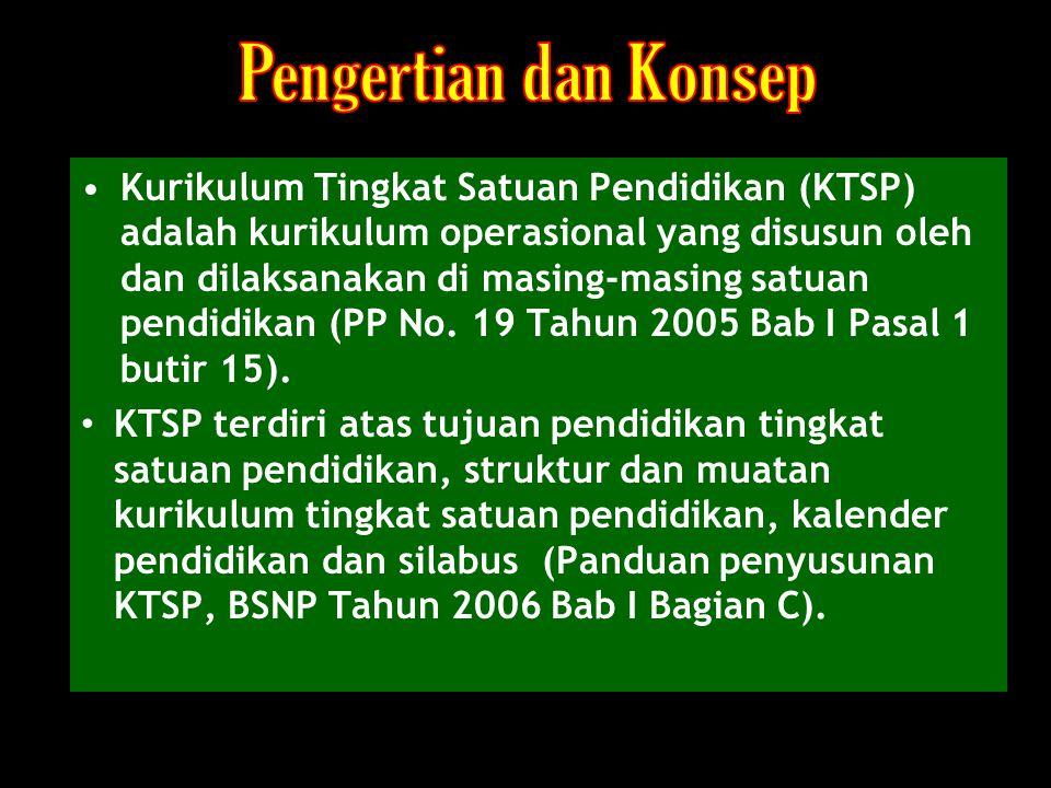 Kurikulum Tingkat Satuan Pendidikan (KTSP) adalah kurikulum operasional yang disusun oleh dan dilaksanakan di masing-masing satuan pendidikan (PP No.