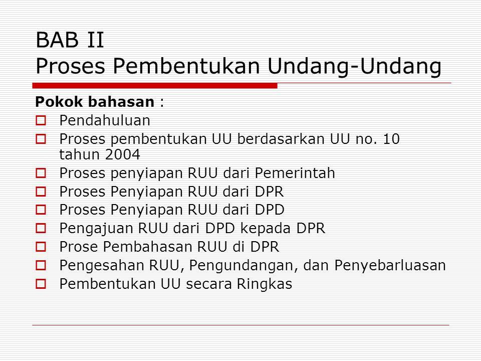 BAB II Proses Pembentukan Undang-Undang Pokok bahasan :  Pendahuluan  Proses pembentukan UU berdasarkan UU no. 10 tahun 2004  Proses penyiapan RUU