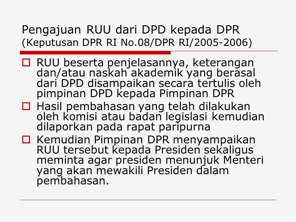 Pengajuan RUU dari DPD kepada DPR (Keputusan DPR RI No.08/DPR RI/2005-2006)  RUU beserta penjelasannya, keterangan dan/atau naskah akademik yang bera